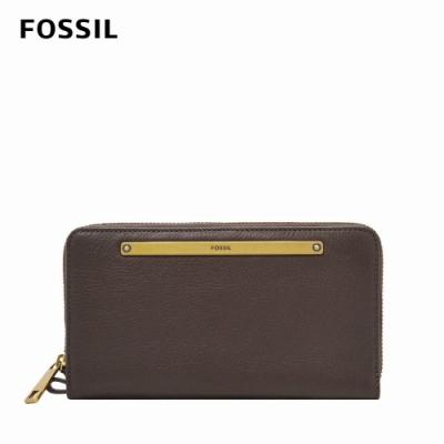 FOSSIL Liza 真皮拉鍊式長夾-巧克力棕 SL7878900