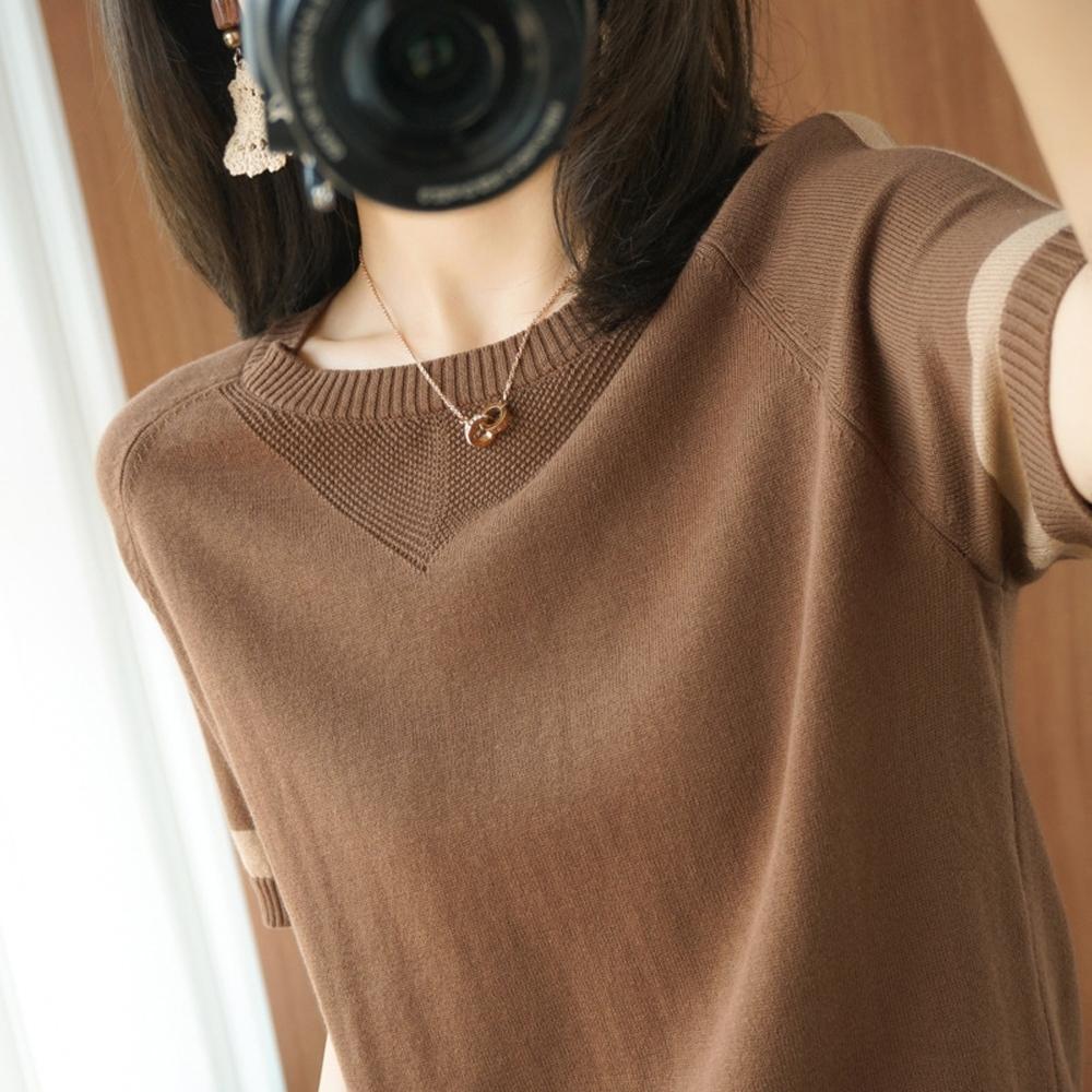 ALLK 歐楷 超彈力配色針織上衣 共11色(尺寸F 任選) (咖啡色)