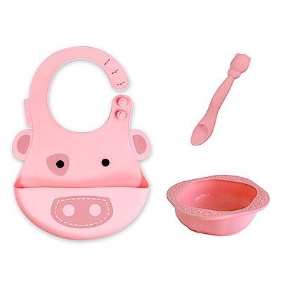 【MARCUS&MARCUS】動物樂園餵食禮盒組-粉紅豬(粉)