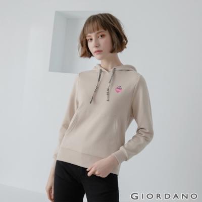 GIORDANO  女裝CHECKS連帽T恤 - 41 燕麥色