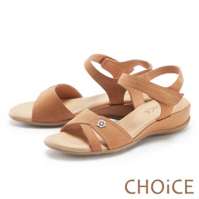 CHOiCE 細緻牛皮造型厚底 女 涼鞋 棕色