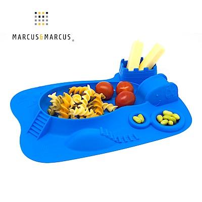 【MARCUS&MARCUS】動物樂園遊樂造型餐盤-河馬(藍)