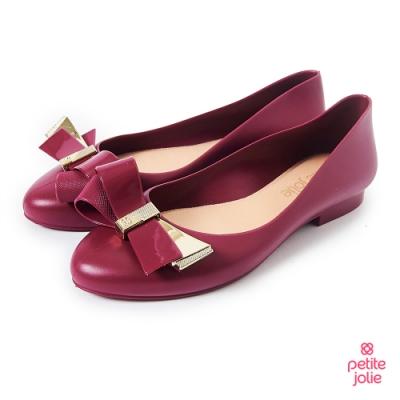 Petite Jolie--優雅蝴蝶結果凍娃娃鞋-酒紅