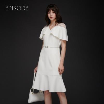 EPISODE - 鏤空蕾絲肩荷葉邊魚尾裙擺洋裝(白)