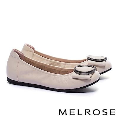 娃娃鞋 MELROSE 內斂知性閃鑽飾舒適全真皮娃娃鞋-米