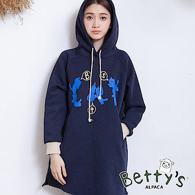betty's貝蒂思 袖口配色貓咪印花刷毛T-shirt(深藍)