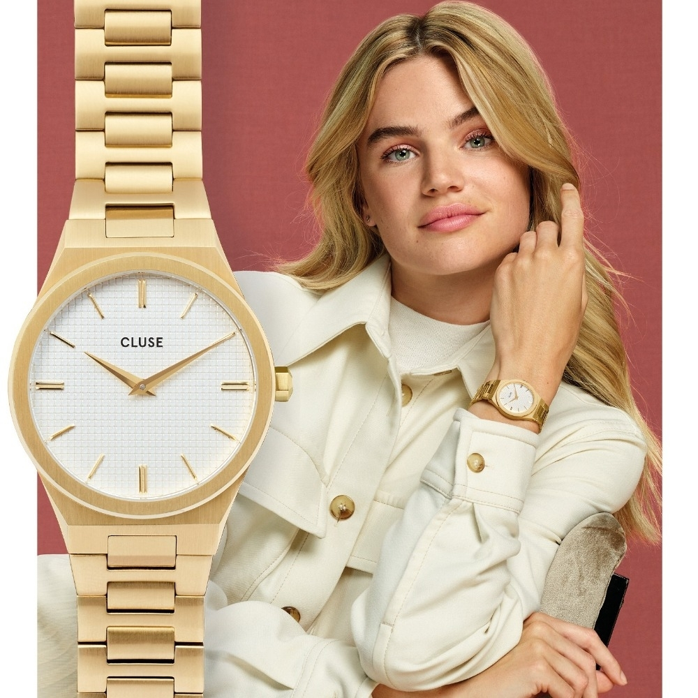 CLUSE Vigoureux 新系列腕錶(金框/白錶面/金色不銹鋼扣鍊) 33mm