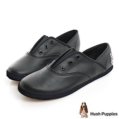 Hush Puppies 質感真皮咖啡紗帆布鞋-黑色