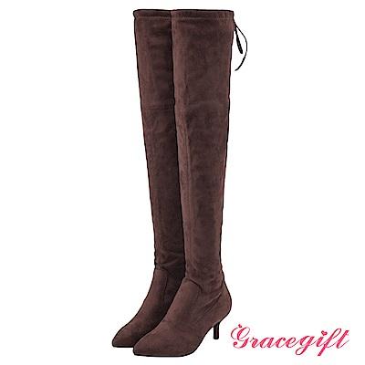 Grace gift-尖頭後綁結細跟膝上靴 咖