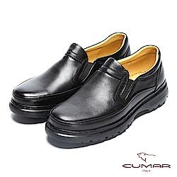 CUMAR 舒適真皮 萬年不敗款綿羊皮氣墊鞋-黑