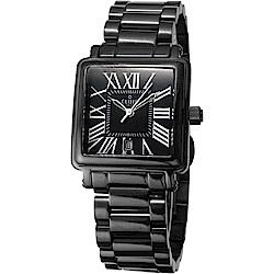 CLOIE 相愛在羅馬 時尚方型女錶-黑/28mm