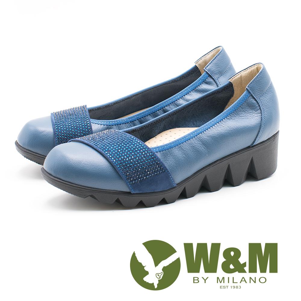 W&M 圓頭百搭 淑女牛皮厚底鞋 女鞋-藍(另有黑)