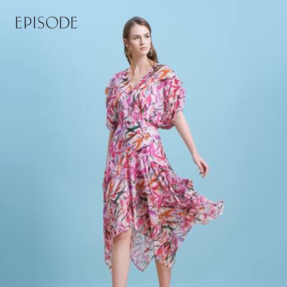 EPISODE - 浪漫花卉不規則裙擺中長雪紡洋裝