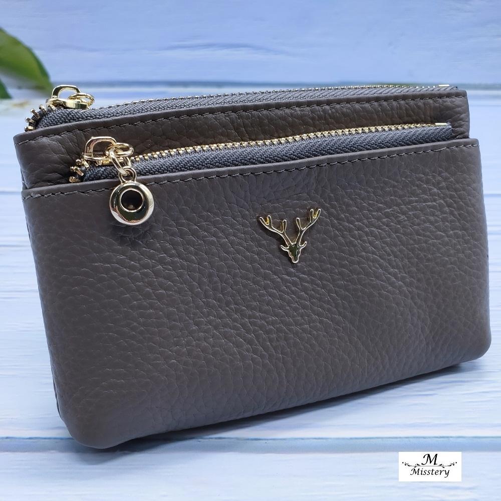 【Misstery】零錢包進口牛皮女用小巧零錢包/卡片夾-灰