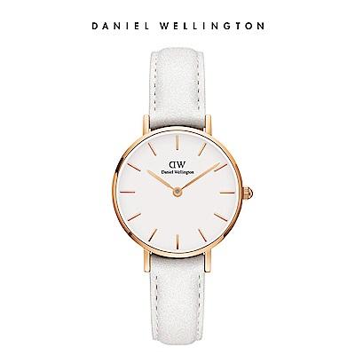 DW 手錶 官方旗艦店 28mm玫瑰金框 Petite 純真白真皮皮革錶