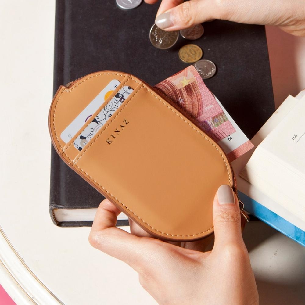 KINAZ 真皮橢圓卡片萬用零錢包-沉穩棕力量-小物魔法系列-快