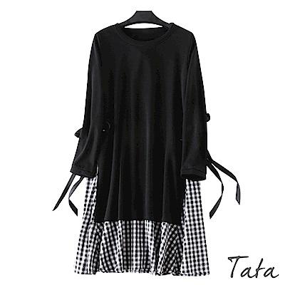 拼接格紋假兩件繫帶洋裝 TATA