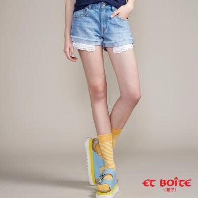 ETBOITE  箱子  口袋蕾絲鬚邊短褲(淺藍)