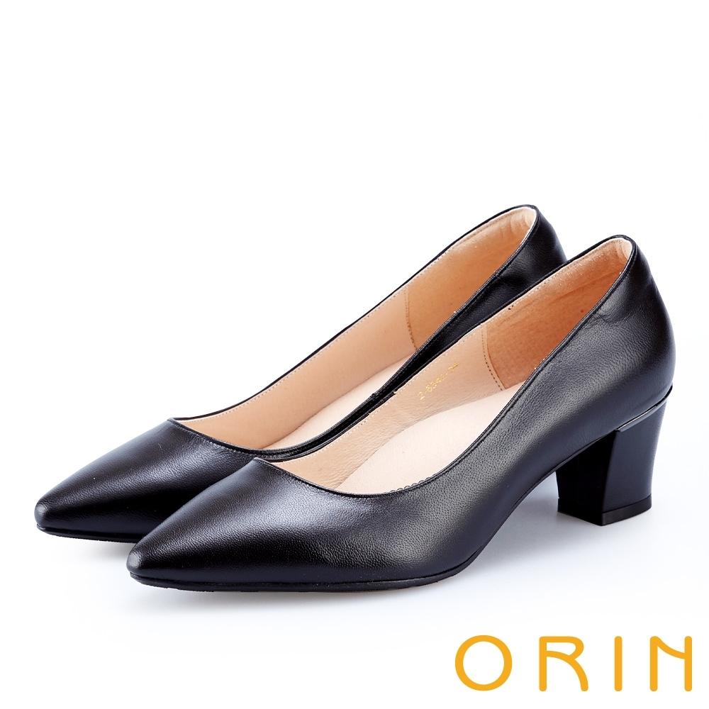ORIN 優雅女人 後跟金屬飾條尖頭粗跟鞋-黑色