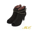 MK-全質感真皮系列-性感麂皮魚口靴-黑色  (兩色)