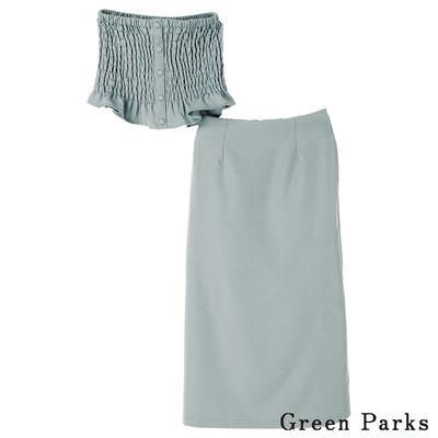 Green Parks  SET ITEM 皺褶荷葉平口衣+長版修身A字裙