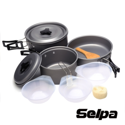 韓國SELPA 戶外不沾鍋設計鋁合金鍋具七件組/旅行/露營