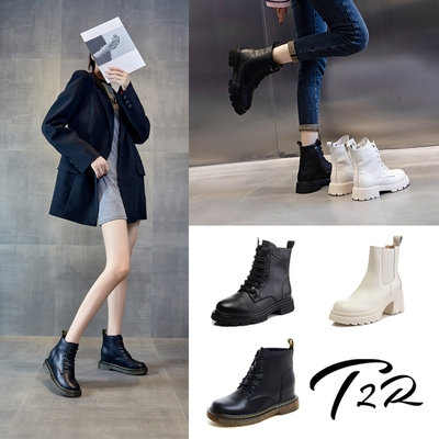 【時時樂限定】T2R-正韓空運-真皮 厚跟 厚底增高 馬丁靴 短靴-總增高約6公分-多任選