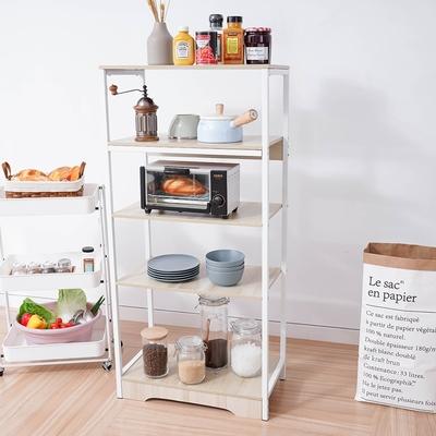 樂嫚妮 廚房多用途五層收納置物架-楓櫻木色