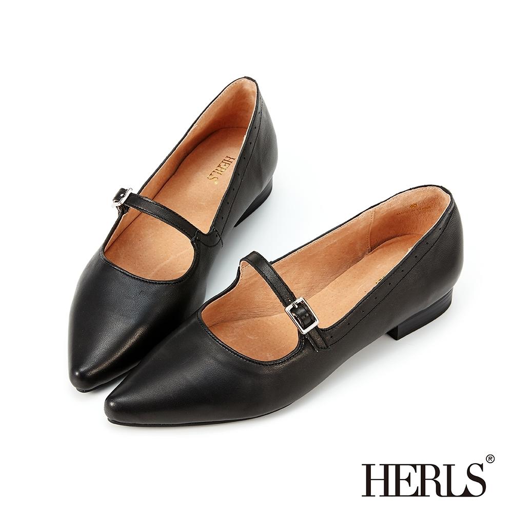 HERLS低跟鞋-全真皮瑪莉珍沖孔滾邊尖頭低跟鞋-黑色
