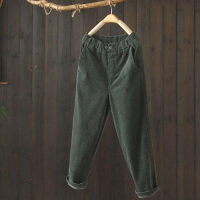 素色棉質燈芯絨鬆緊腰休閒寬鬆哈倫九分褲-設計所在