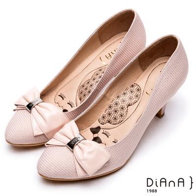 DIANA漫步雲端超厚切瞇眼美人—法蘭西布蝴蝶結真皮尖頭跟鞋-淺粉
