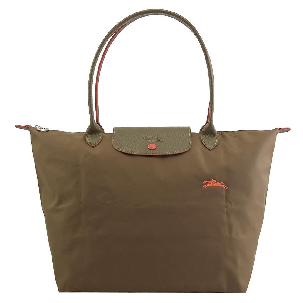 LONGCHAMP Le Pliage Collection電繡賽馬長把手提包(墨綠/L)