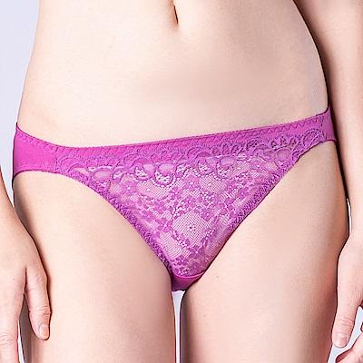 思薇爾 花采柔媚系列M-XL蕾絲低腰三角內褲(紫水晶)