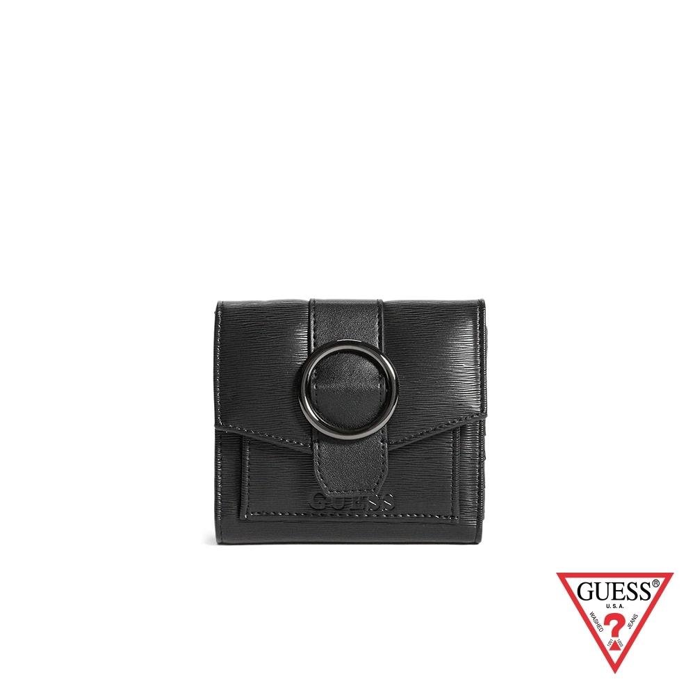 GUESS-女夾-時尚素面色圓環三折式短夾-黑 原價1490