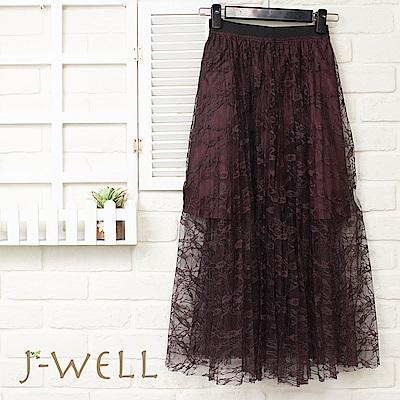 J-WELL法式風情綻美紫蕾絲長裙