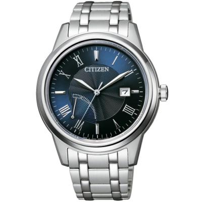 CITIZEN 星辰 光動能電力顯示簡約手錶(AW7001-98L)-藍x銀