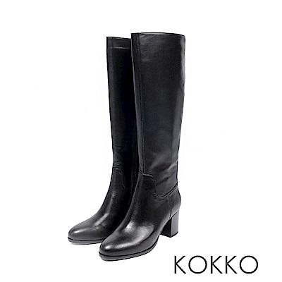 KOKKO -絕對完美牛皮直筒高跟長靴-蜜意黑