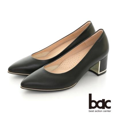 【bac】尖頭金屬裝飾配色粗跟高跟鞋-黑