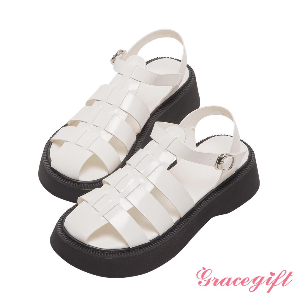 Grace gift-編織繫踝厚底涼鞋 米白