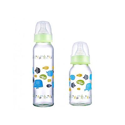 【麗嬰房】nac nac 好朋友系列(海洋)-吸吮力學標準耐熱玻璃奶瓶 120+240ml