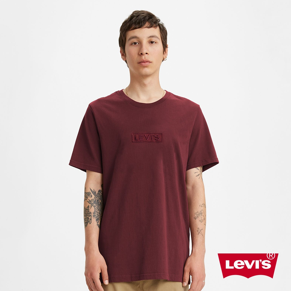 Levis 男款 短袖T恤 同色刺繡BOX Logo 寬鬆休閒版型 酒紅