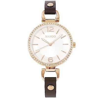 MANGO 璀璨晶鑽時尚真皮手錶-玫瑰金X咖啡/32mm