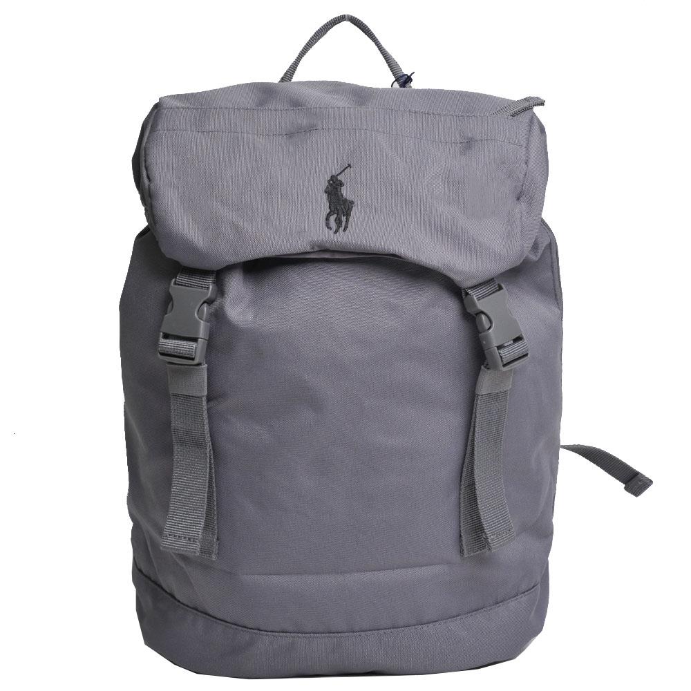POLO Ralph Lauren 品牌LOGO圖騰刺繡尼龍雙扣後背包(灰色)
