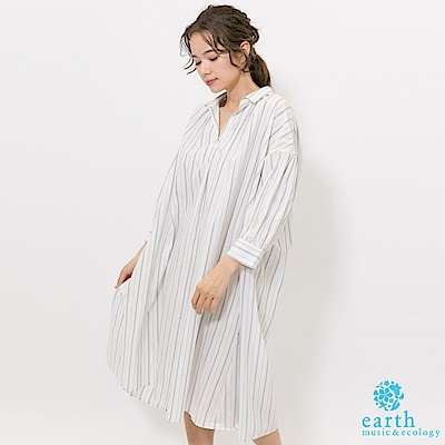 earth music 素面/條紋有機混紡寬鬆連身洋裝