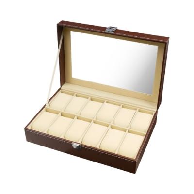 TRENY 12位手錶收納盒- 經典皮革 棕色