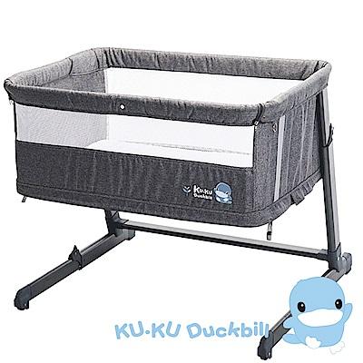 買即贈懶人包巾-KU.KU酷咕鴨-北歐成長型床邊床-灰/藍(6040)