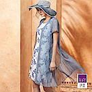 ILEY伊蕾 拓印感花草印花兩件式洋裝(藍)
