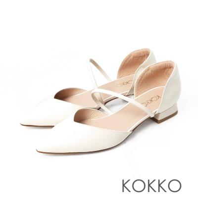 KOKKO小方頭柔軟羊皮兩截中空粗跟鞋椰奶米