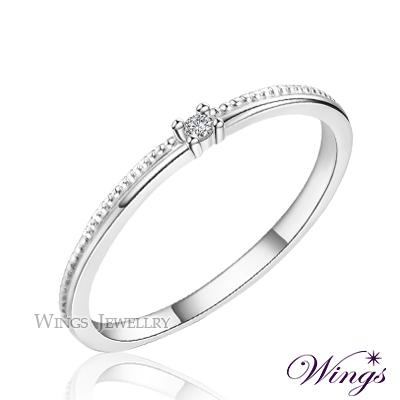 Wings 星河 纖細美麗的優雅 精鍍白K金戒指 尾戒