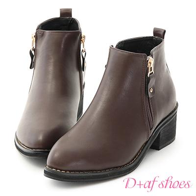 D+AF 個性主打.側拉鍊設計尖頭低跟短靴*咖